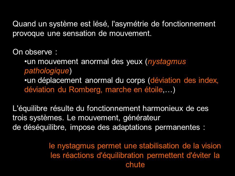 Quand un système est lésé, l'asymétrie de fonctionnement provoque une sensation de mouvement. On observe : un mouvement anormal des yeux (nystagmus pa