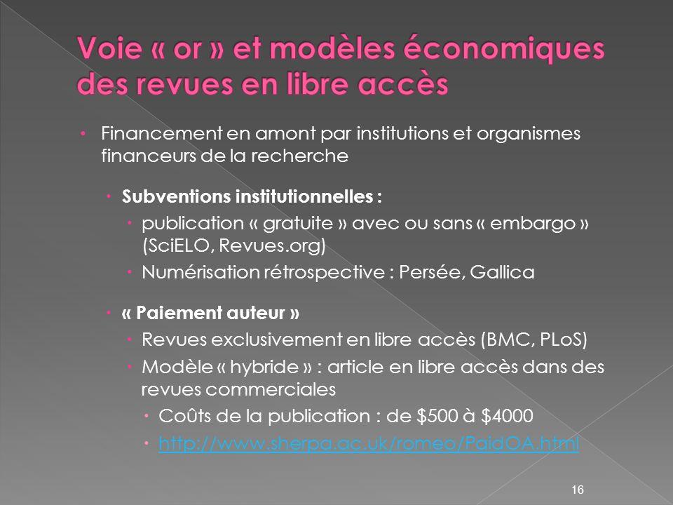 16 Financement en amont par institutions et organismes financeurs de la recherche Subventions institutionnelles : publication « gratuite » avec ou san