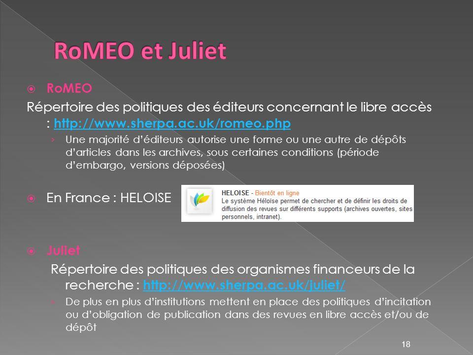 18 RoMEO Répertoire des politiques des éditeurs concernant le libre accès : http://www.sherpa.ac.uk/romeo.php http://www.sherpa.ac.uk/romeo.php Une majorité déditeurs autorise une forme ou une autre de dépôts darticles dans les archives, sous certaines conditions (période dembargo, versions déposées) En France : HELOISE Juliet Répertoire des politiques des organismes financeurs de la recherche : http://www.sherpa.ac.uk/juliet/ http://www.sherpa.ac.uk/juliet/ De plus en plus dinstitutions mettent en place des politiques dincitation ou dobligation de publication dans des revues en libre accès et/ou de dépôt