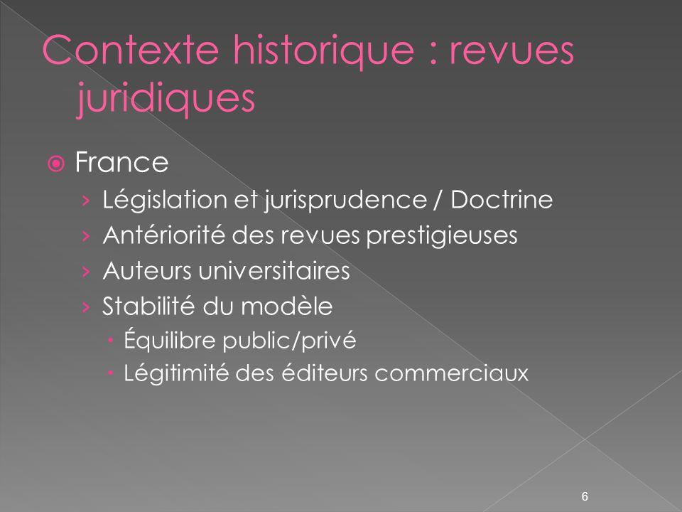 6 France Législation et jurisprudence / Doctrine Antériorité des revues prestigieuses Auteurs universitaires Stabilité du modèle Équilibre public/privé Légitimité des éditeurs commerciaux