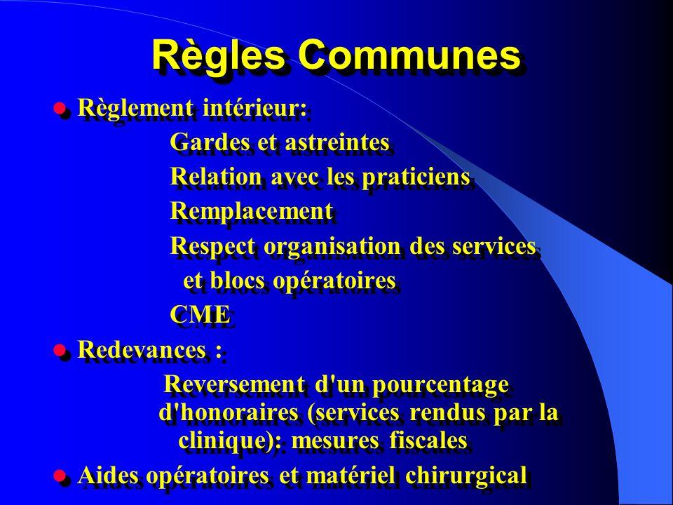 Règles Communes Règlement intérieur: Gardes et astreintes Relation avec les praticiens Remplacement Respect organisation des services et blocs opérato