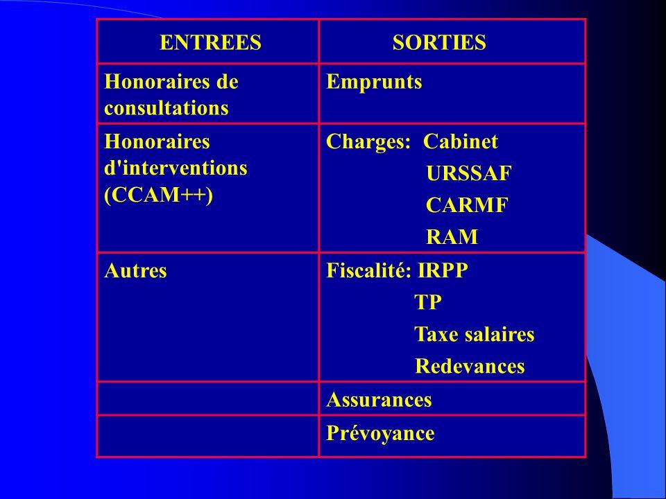 ENTREES SORTIES Honoraires de consultations Emprunts Honoraires d'interventions (CCAM++) Charges: Cabinet URSSAF CARMF RAM AutresFiscalité: IRPP TP Ta