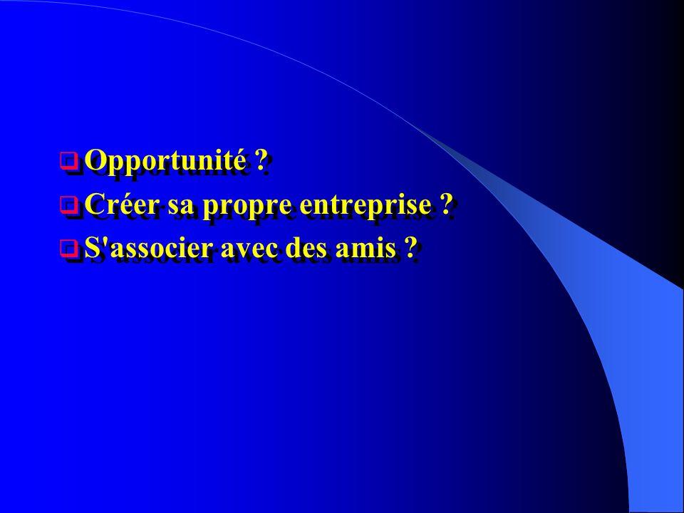 Opportunité ? Créer sa propre entreprise ? S'associer avec des amis ? Opportunité ? Créer sa propre entreprise ? S'associer avec des amis ?