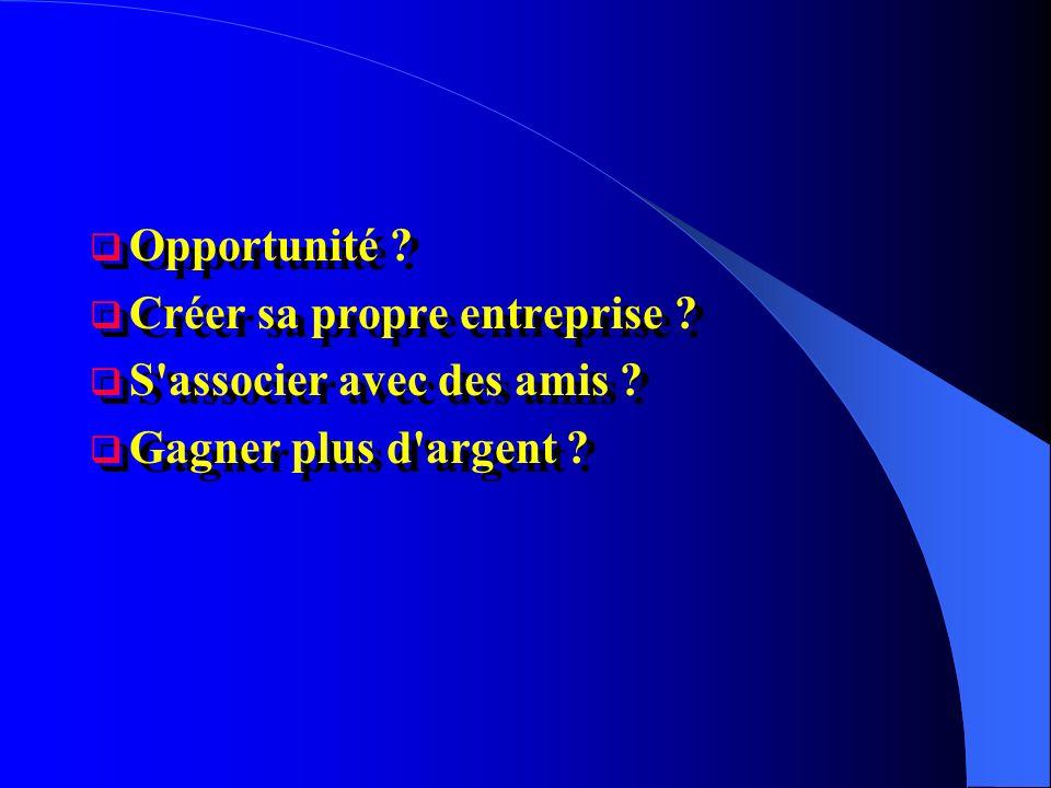 Opportunité ? Créer sa propre entreprise ? S'associer avec des amis ? Gagner plus d'argent ? Opportunité ? Créer sa propre entreprise ? S'associer ave