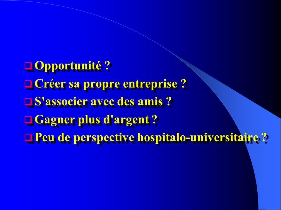 Opportunité ? Créer sa propre entreprise ? S'associer avec des amis ? Gagner plus d'argent ? Peu de perspective hospitalo-universitaire ? Opportunité