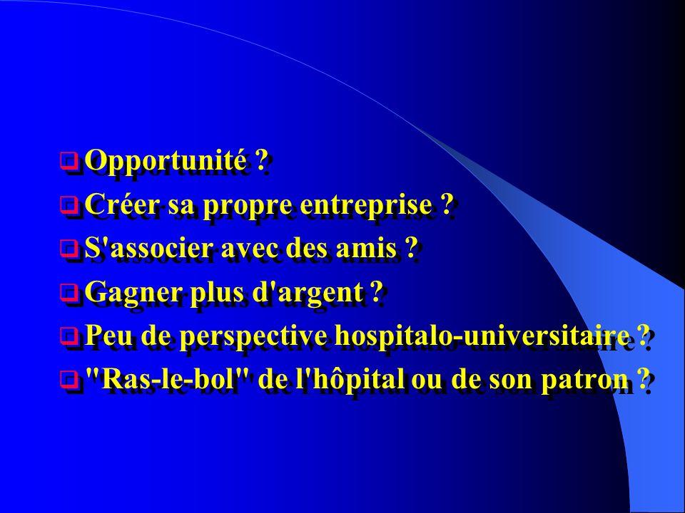 Opportunité ? Créer sa propre entreprise ? S'associer avec des amis ? Gagner plus d'argent ? Peu de perspective hospitalo-universitaire ?