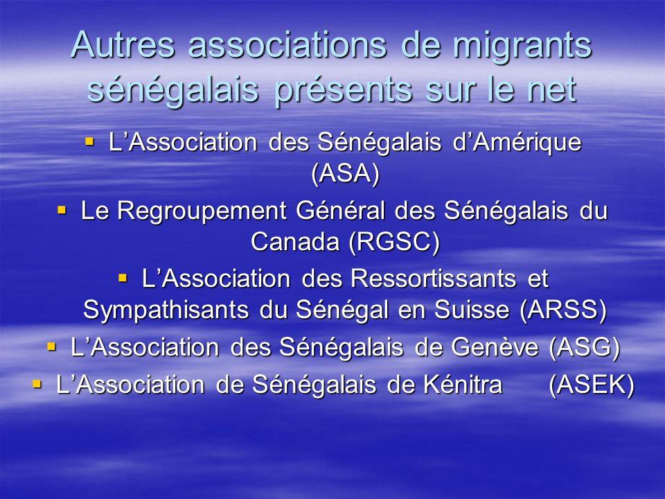 Autres associations de migrants sénégalais présents sur le net LAssociation des Sénégalais dAmérique (ASA) LAssociation des Sénégalais dAmérique (ASA) Le Regroupement Général des Sénégalais du Canada (RGSC) Le Regroupement Général des Sénégalais du Canada (RGSC) LAssociation des Ressortissants et Sympathisants du Sénégal en Suisse (ARSS) LAssociation des Ressortissants et Sympathisants du Sénégal en Suisse (ARSS) LAssociation des Sénégalais de Genève (ASG) LAssociation des Sénégalais de Genève (ASG) LAssociation de Sénégalais de Kénitra (ASEK) LAssociation de Sénégalais de Kénitra (ASEK)