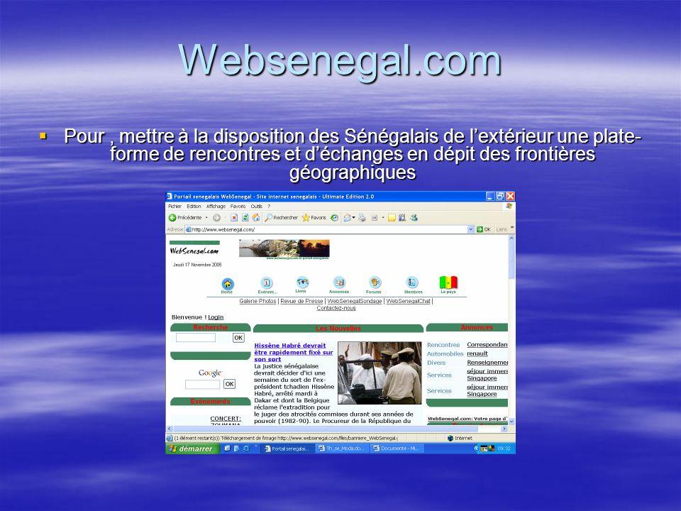 Websenegal.com Pour, mettre à la disposition des Sénégalais de lextérieur une plate- forme de rencontres et déchanges en dépit des frontières géographiques Pour, mettre à la disposition des Sénégalais de lextérieur une plate- forme de rencontres et déchanges en dépit des frontières géographiques