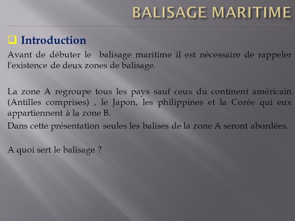 Introduction Avant de débuter le balisage maritime il est nécessaire de rappeler l'existence de deux zones de balisage. La zone A regroupe tous les pa