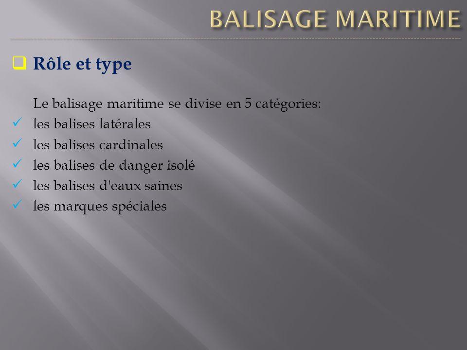 Rôle et type Le balisage maritime se divise en 5 catégories: les balises latérales les balises cardinales les balises de danger isolé les balises d'ea