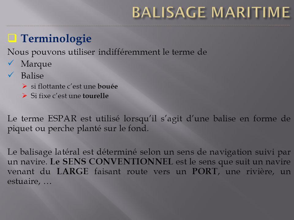 Terminologie Nous pouvons utiliser indifféremment le terme de Marque Balise si flottante cest une bouée Si fixe cest une tourelle Le terme ESPAR est u