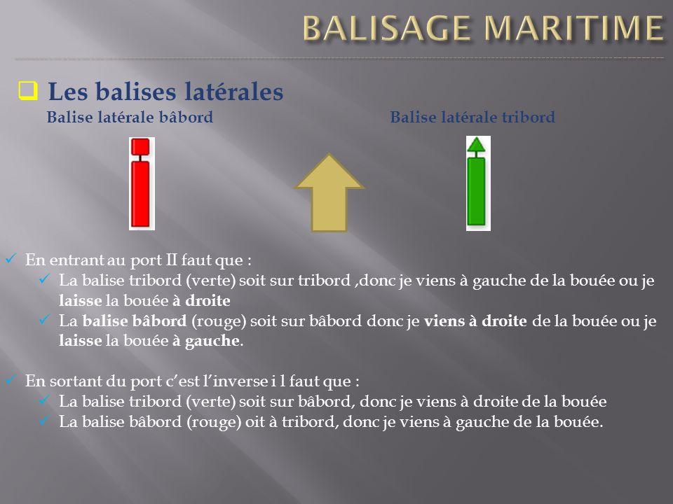 Les balises latérales Balise latérale bâbordBalise latérale tribord En entrant au port II faut que : La balise tribord (verte) soit sur tribord,donc j