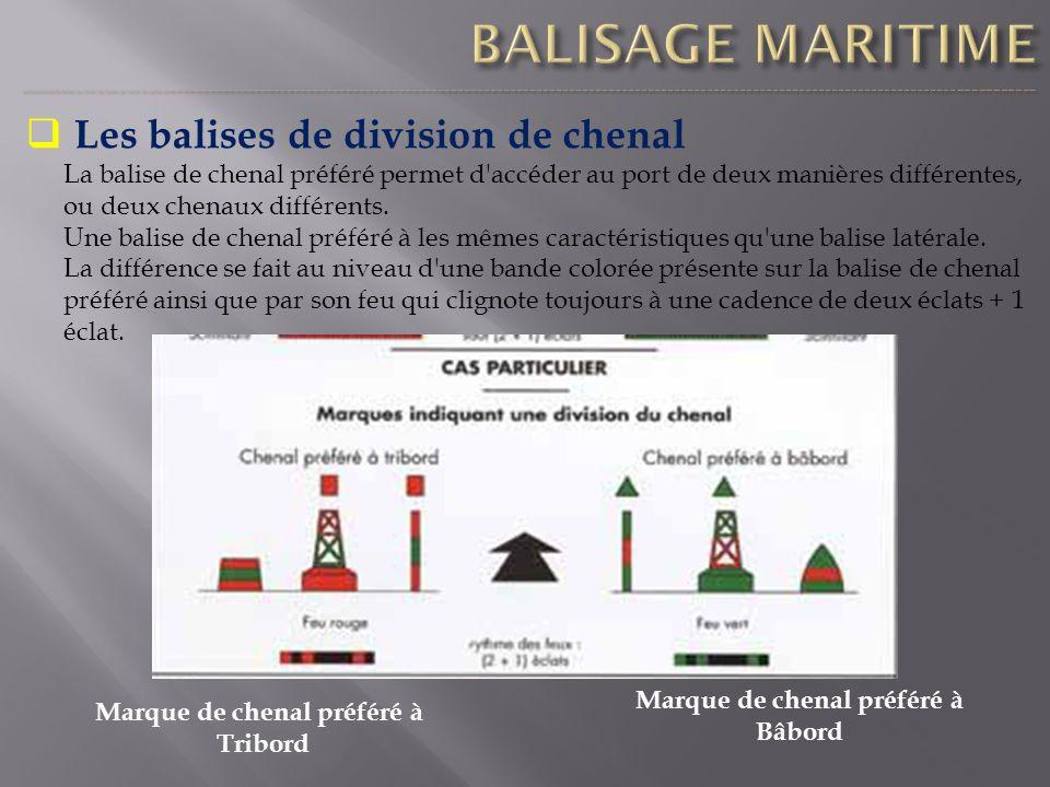 Les balises de division de chenal La balise de chenal préféré permet d'accéder au port de deux manières différentes, ou deux chenaux différents. Une b