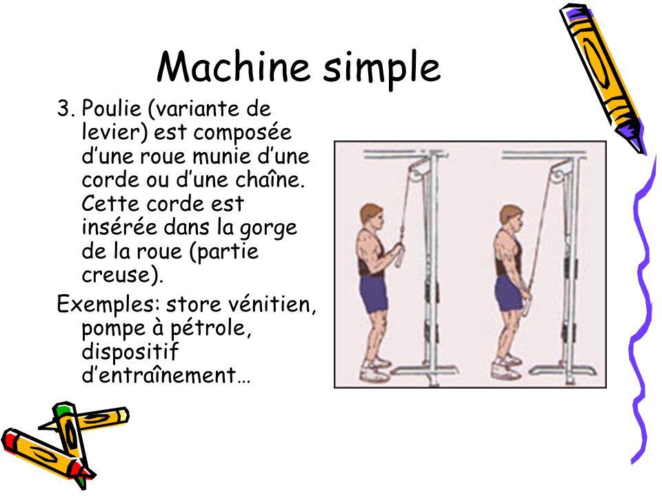 Machine simple 3. Poulie (variante de levier) est composée dune roue munie dune corde ou dune chaîne. Cette corde est insérée dans la gorge de la roue