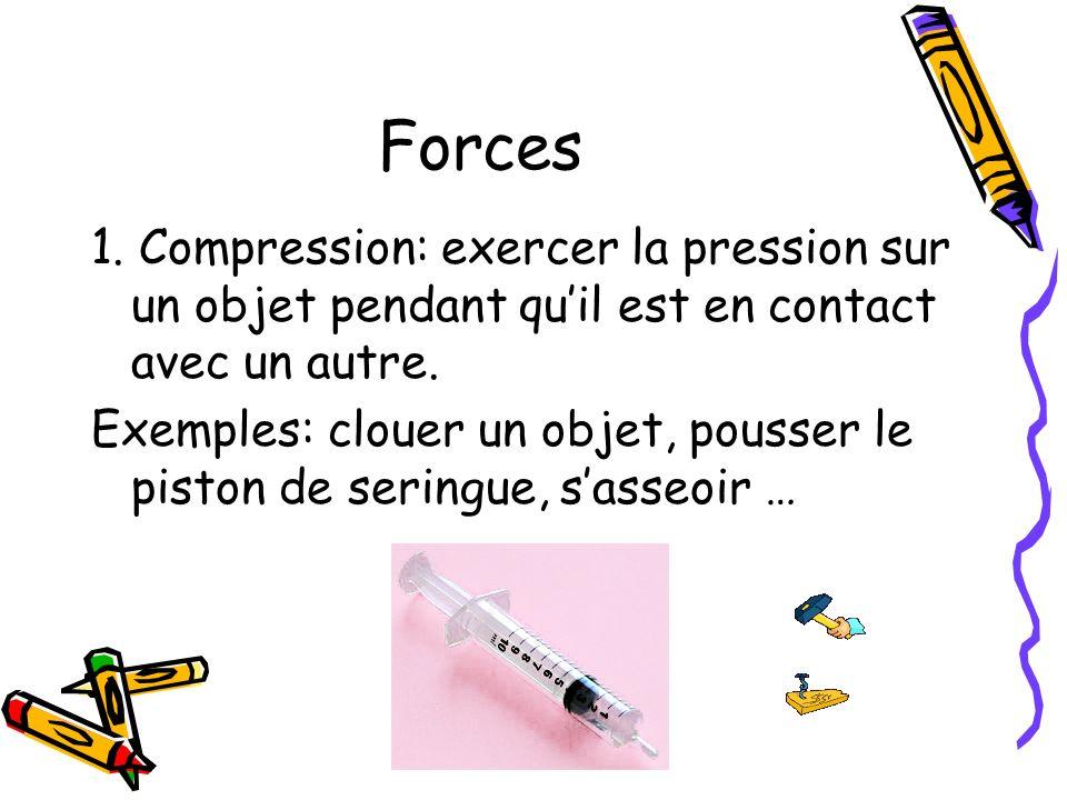Forces 1. Compression: exercer la pression sur un objet pendant quil est en contact avec un autre. Exemples: clouer un objet, pousser le piston de ser