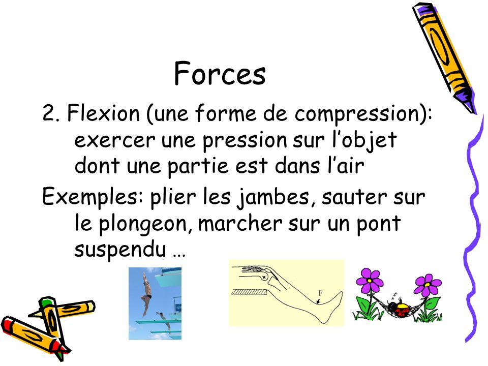 Forces 2. Flexion (une forme de compression): exercer une pression sur lobjet dont une partie est dans lair Exemples: plier les jambes, sauter sur le