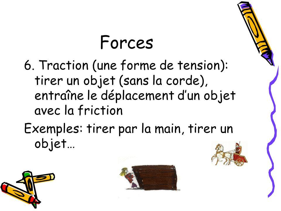 Forces 6. Traction (une forme de tension): tirer un objet (sans la corde), entraîne le déplacement dun objet avec la friction Exemples: tirer par la m