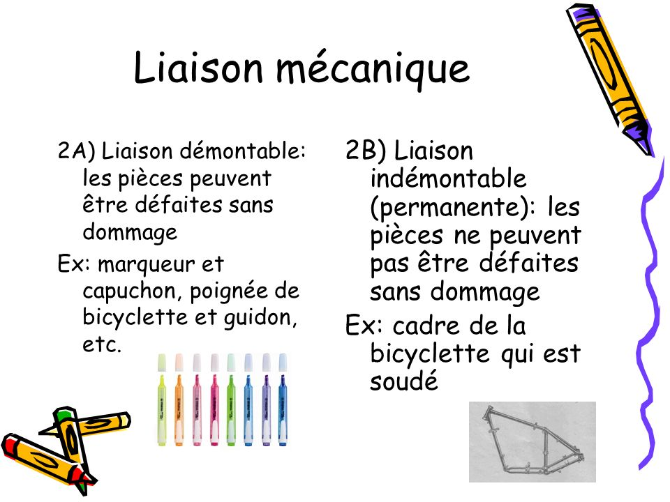 Liaison mécanique 2A) Liaison démontable: les pièces peuvent être défaites sans dommage Ex: marqueur et capuchon, poignée de bicyclette et guidon, etc