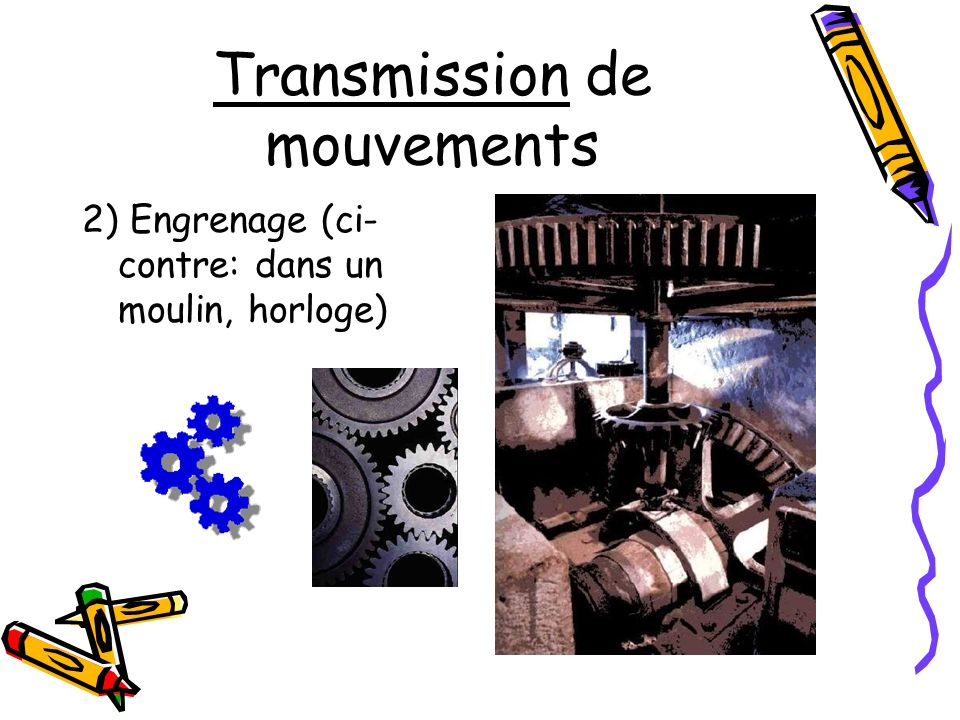 Transmission de mouvements 2) Engrenage (ci- contre: dans un moulin, horloge)