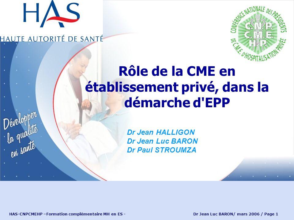 HAS-CNPCMEHP –Formation complémentaire MH en ES - Dr Jean Luc BARON/ mars 2006 / Page 2 Loi hospitalière de 1991: vague mission dévaluation 2004 et 2005: la CME coorganisatrice de lEPP.