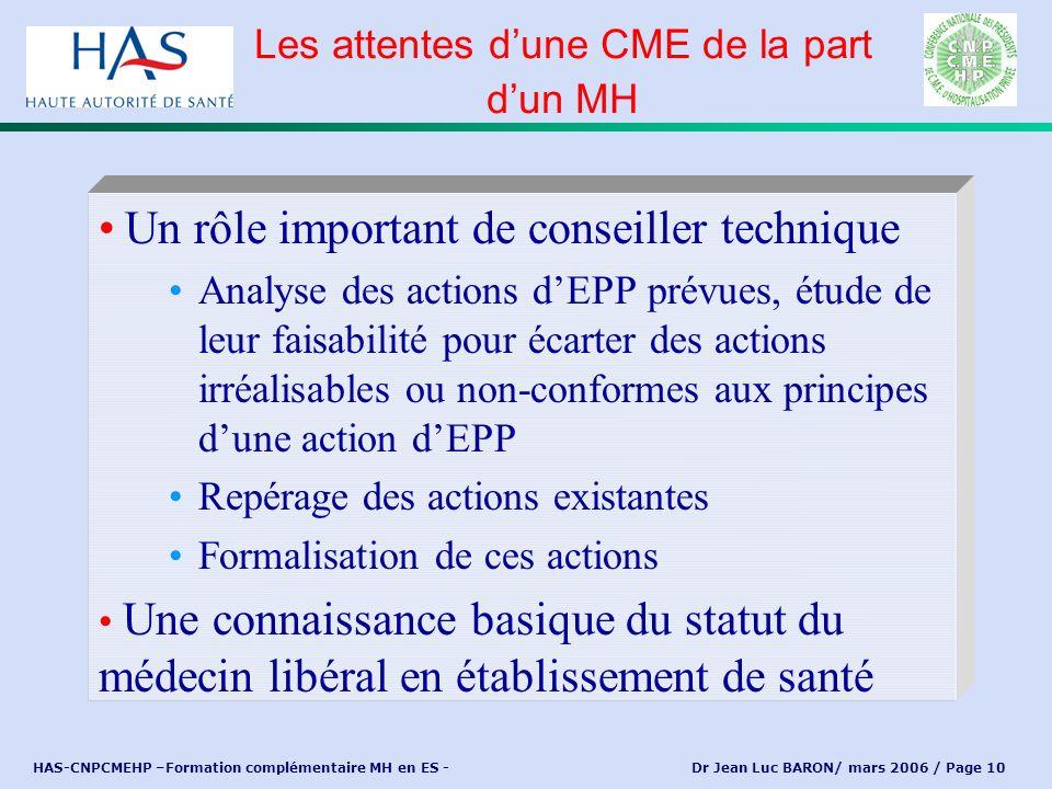 HAS-CNPCMEHP –Formation complémentaire MH en ES - Dr Jean Luc BARON/ mars 2006 / Page 10 Un rôle important de conseiller technique Analyse des actions