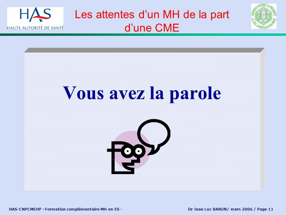 HAS-CNPCMEHP –Formation complémentaire MH en ES - Dr Jean Luc BARON/ mars 2006 / Page 11 Vous avez la parole Les attentes dun MH de la part dune CME