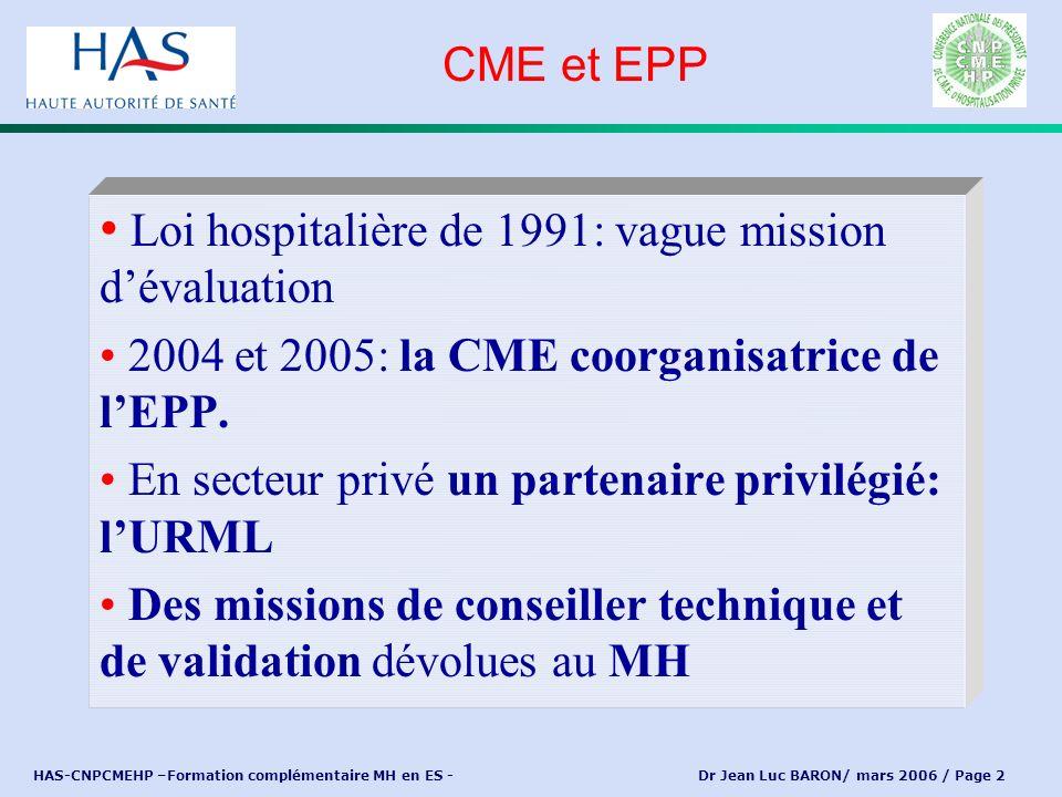 HAS-CNPCMEHP –Formation complémentaire MH en ES - Dr Jean Luc BARON/ mars 2006 / Page 3 Tous les praticiens sont membres de droit de la CME CME = Conglomérat de petites entreprises individuelles ou en mode associatif Pas de hiérarchie: chaque praticien a sa propre responsabilité La CME est un organe de coordination, voire de management, de ces différentes entreprises, dans leur exercice au sein de l établissement CME: définition