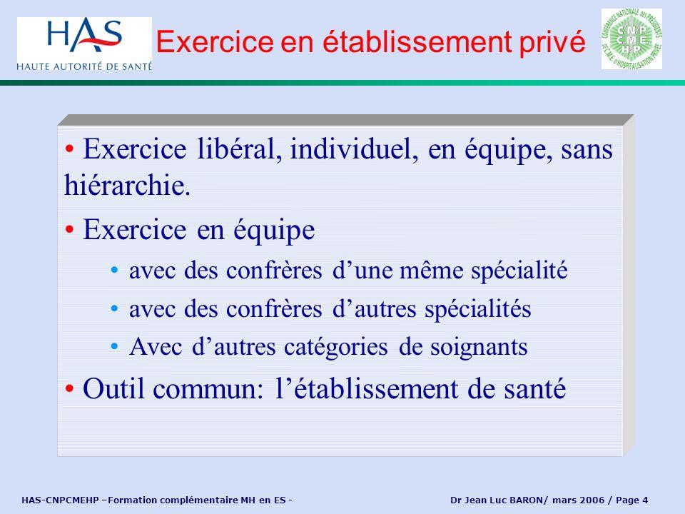 HAS-CNPCMEHP –Formation complémentaire MH en ES - Dr Jean Luc BARON/ mars 2006 / Page 4 Exercice libéral, individuel, en équipe, sans hiérarchie. Exer