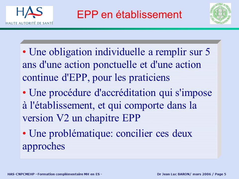 HAS-CNPCMEHP –Formation complémentaire MH en ES - Dr Jean Luc BARON/ mars 2006 / Page 5 Une obligation individuelle a remplir sur 5 ans d'une action p