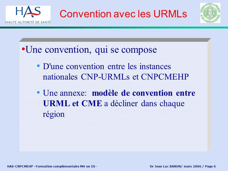 HAS-CNPCMEHP –Formation complémentaire MH en ES - Dr Jean Luc BARON/ mars 2006 / Page 6 Une convention, qui se compose D'une convention entre les inst