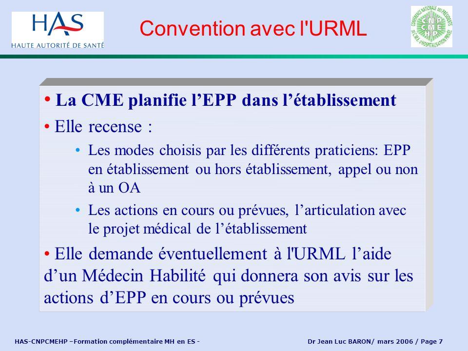 HAS-CNPCMEHP –Formation complémentaire MH en ES - Dr Jean Luc BARON/ mars 2006 / Page 7 La CME planifie lEPP dans létablissement Elle recense : Les mo