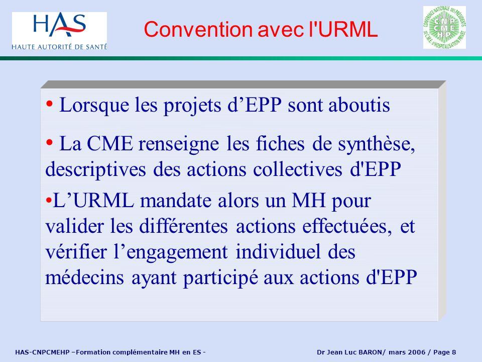 HAS-CNPCMEHP –Formation complémentaire MH en ES - Dr Jean Luc BARON/ mars 2006 / Page 8 Lorsque les projets dEPP sont aboutis La CME renseigne les fic