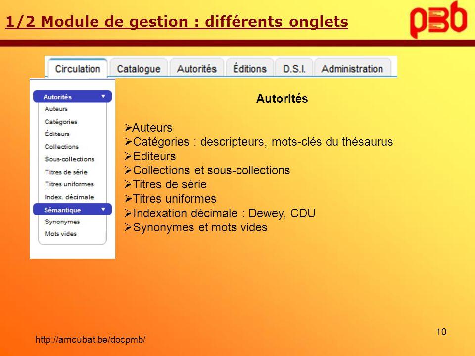1/2 Module de gestion : différents onglets Autorités Auteurs Catégories : descripteurs, mots-clés du thésaurus Editeurs Collections et sous-collection