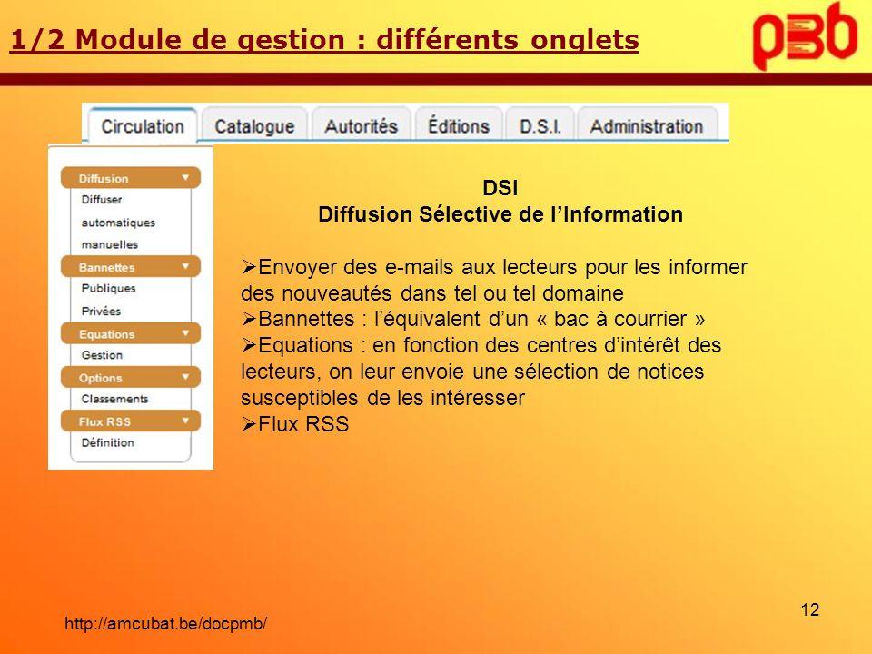 1/2 Module de gestion : différents onglets DSI Diffusion Sélective de lInformation Envoyer des e-mails aux lecteurs pour les informer des nouveautés d