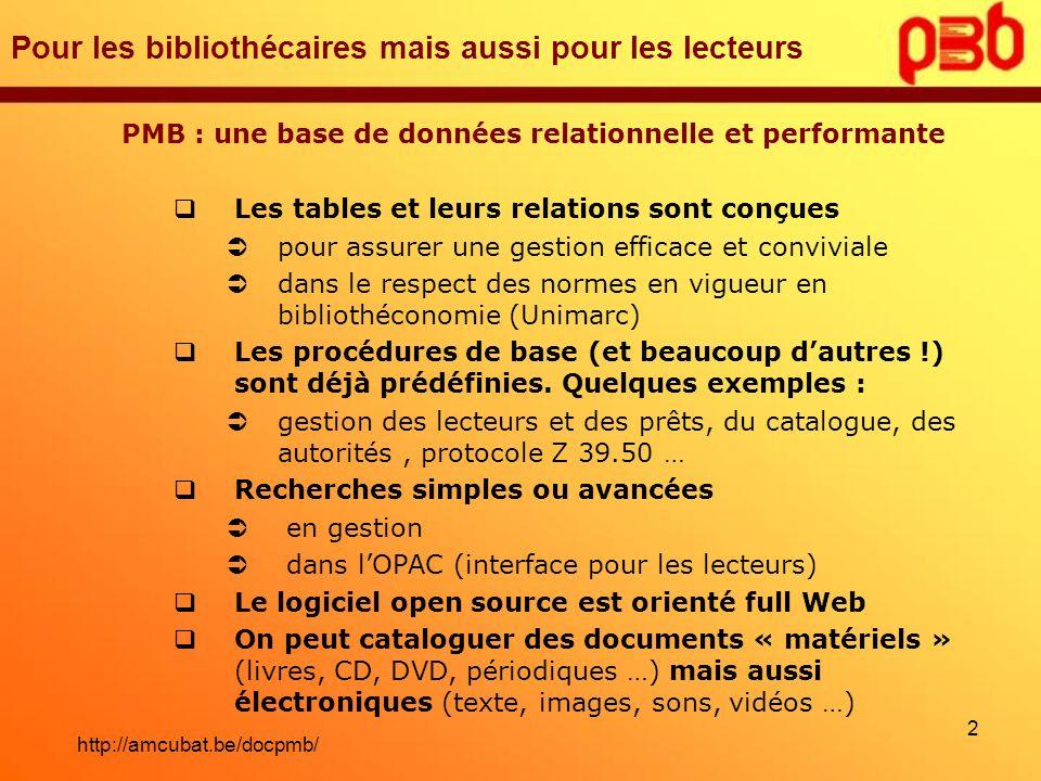 Pour les bibliothécaires mais aussi pour les lecteurs PMB : une base de données relationnelle et performante Les tables et leurs relations sont conçue