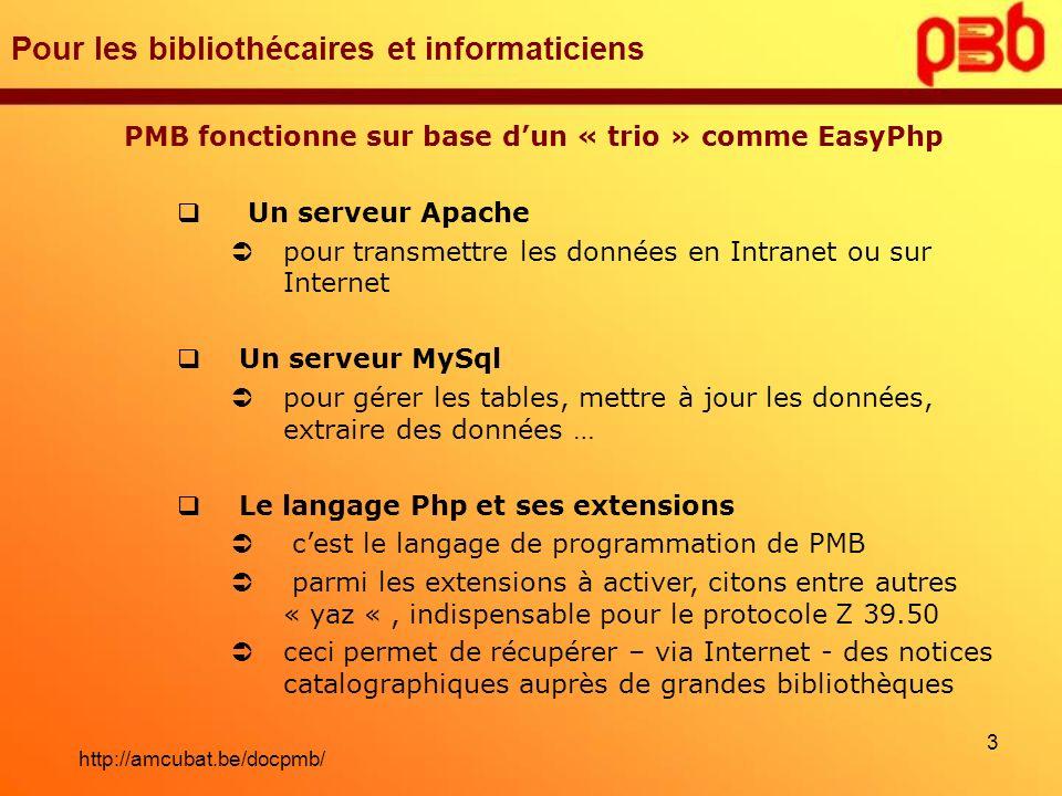 Pour les bibliothécaires et informaticiens PMB fonctionne sur base dun « trio » comme EasyPhp Un serveur Apache pour transmettre les données en Intran