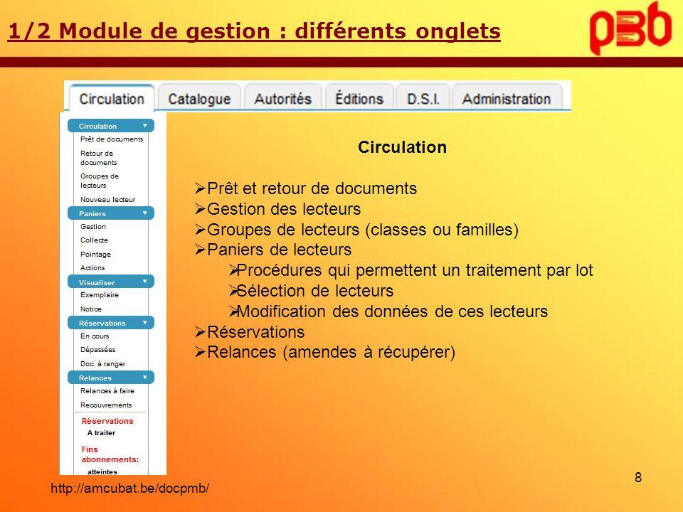 1/2 Module de gestion : différents onglets Circulation Prêt et retour de documents Gestion des lecteurs Groupes de lecteurs (classes ou familles) Pani