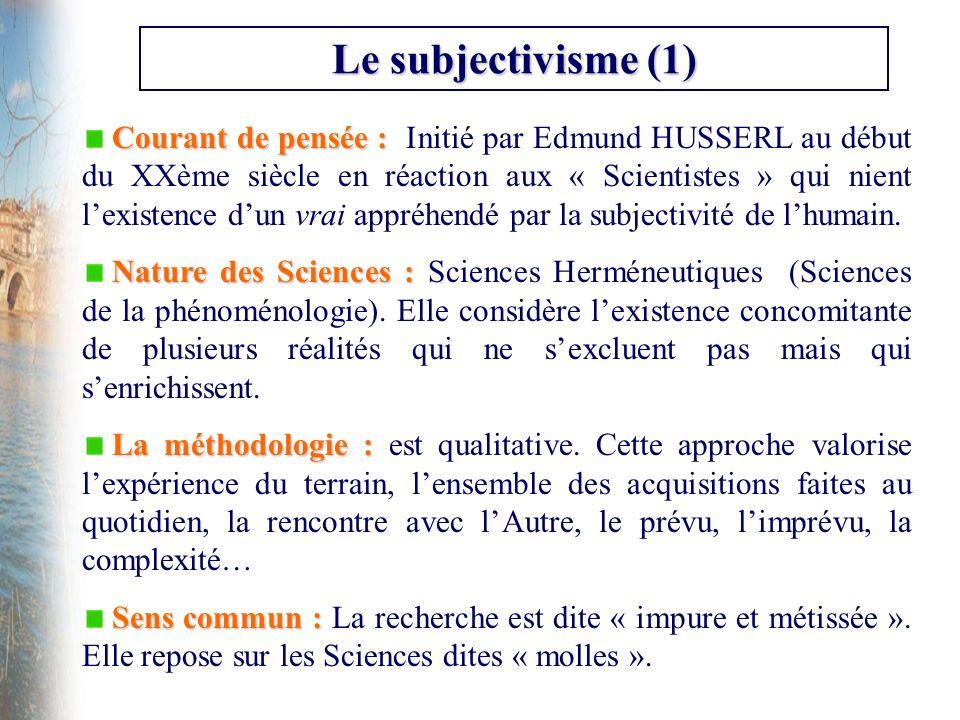 Le subjectivisme (1) Courant de pensée : Courant de pensée : Initié par Edmund HUSSERL au début du XXème siècle en réaction aux « Scientistes » qui ni