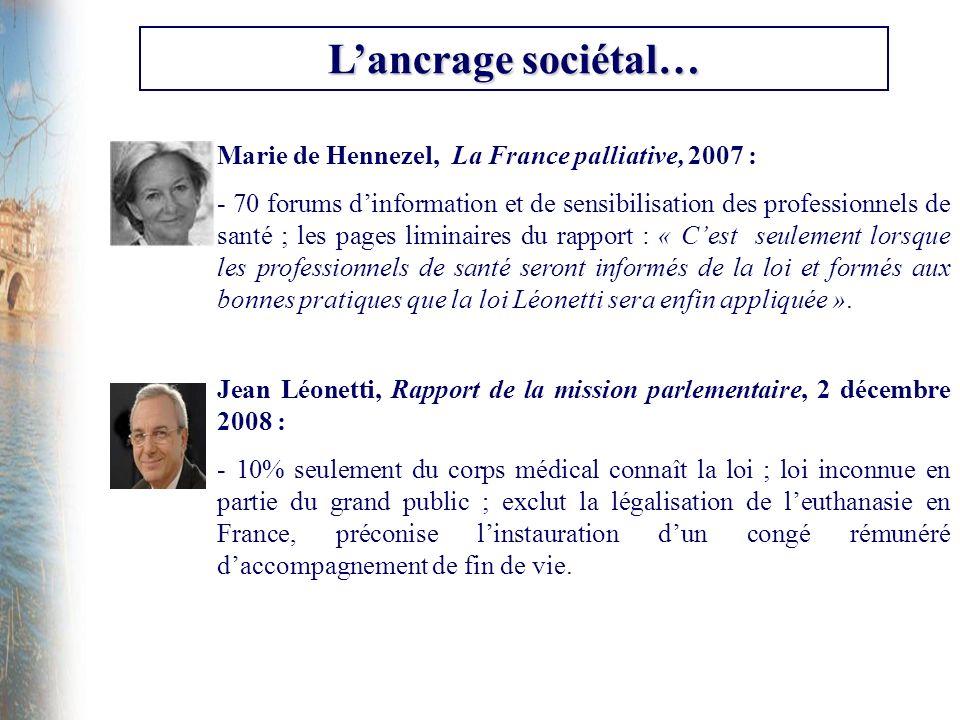 Lancrage sociétal… Marie de Hennezel, La France palliative, 2007 : - 70 forums dinformation et de sensibilisation des professionnels de santé ; les pa