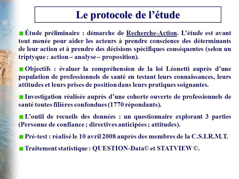 Le protocole de létude Étude préliminaire : démarche de Recherche-Action. Létude est avant tout menée pour aider les acteurs à prendre conscience des
