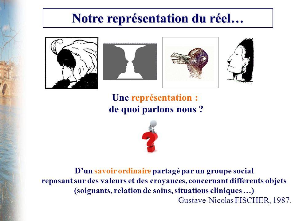 Notre représentation du réel… Une représentation : de quoi parlons nous ? Dun savoir ordinaire partagé par un groupe social reposant sur des valeurs e