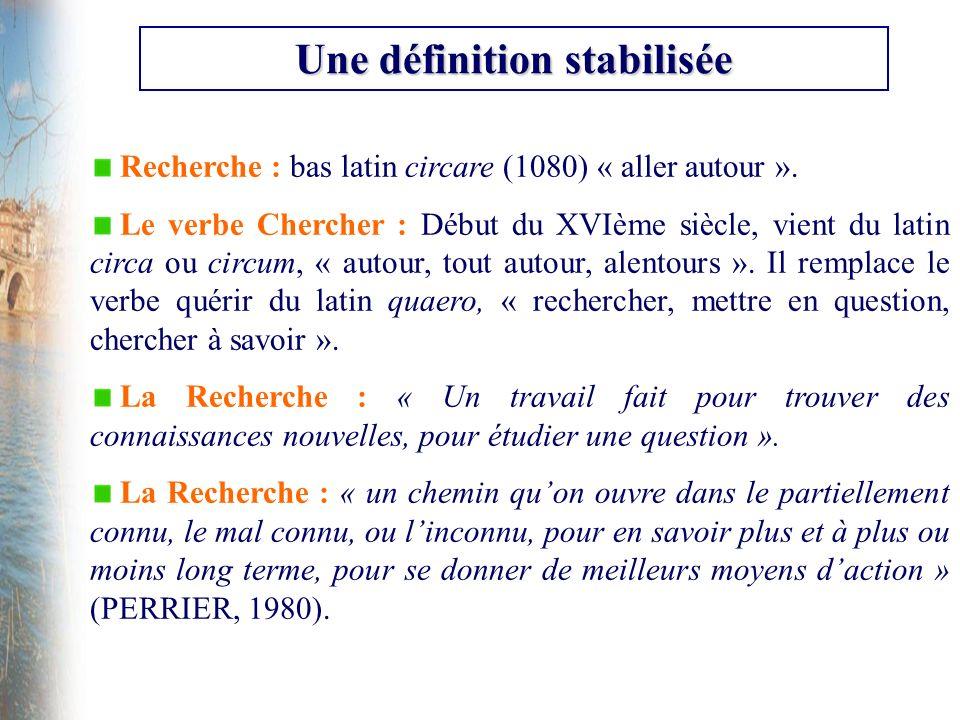 Recherche : bas latin circare (1080) « aller autour ». Le verbe Chercher : Début du XVIème siècle, vient du latin circa ou circum, « autour, tout auto
