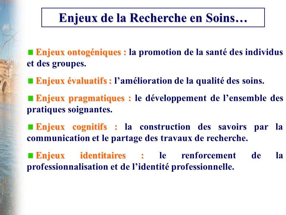 Enjeux de la Recherche en Soins… Enjeux ontogéniques : Enjeux ontogéniques : la promotion de la santé des individus et des groupes. Enjeux évaluatifs