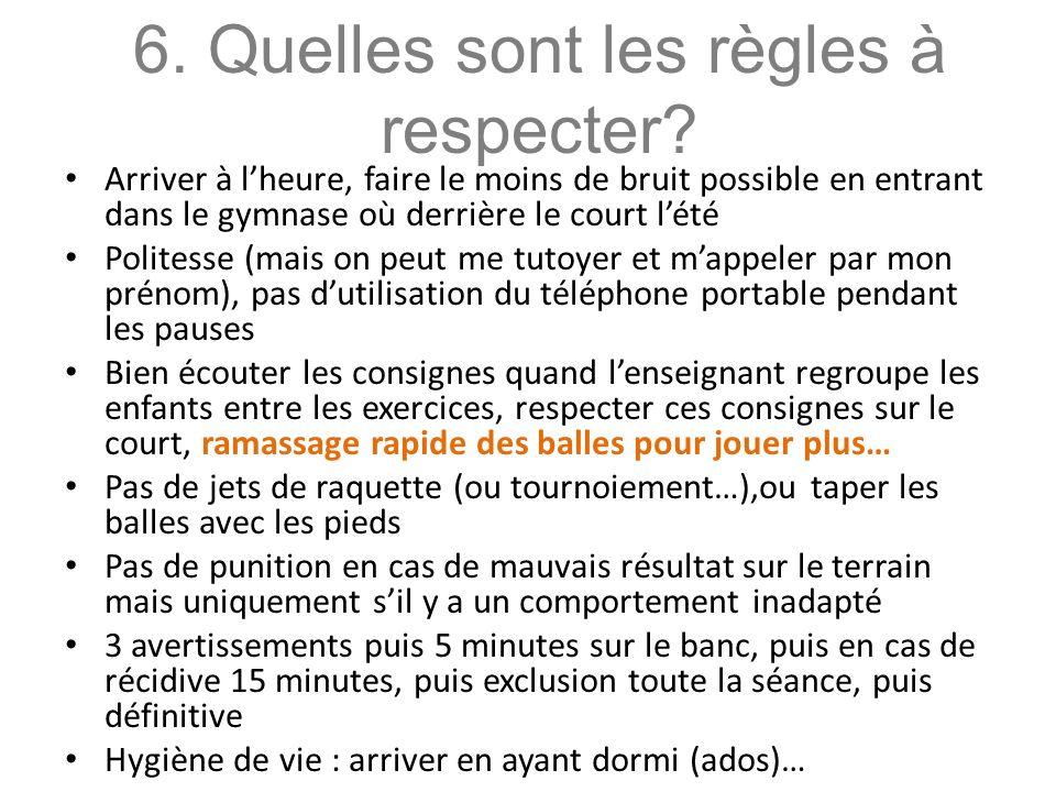 6.Quelles sont les règles à respecter.