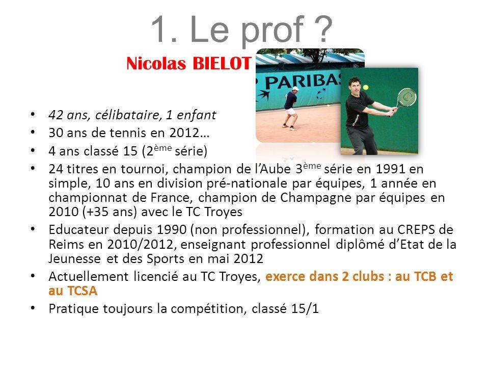 42 ans, célibataire, 1 enfant 30 ans de tennis en 2012… 4 ans classé 15 (2 ème série) 24 titres en tournoi, champion de lAube 3 ème série en 1991 en simple, 10 ans en division pré-nationale par équipes, 1 année en championnat de France, champion de Champagne par équipes en 2010 (+35 ans) avec le TC Troyes Educateur depuis 1990 (non professionnel), formation au CREPS de Reims en 2010/2012, enseignant professionnel diplômé dEtat de la Jeunesse et des Sports en mai 2012 Actuellement licencié au TC Troyes, exerce dans 2 clubs : au TCB et au TCSA Pratique toujours la compétition, classé 15/1 1.