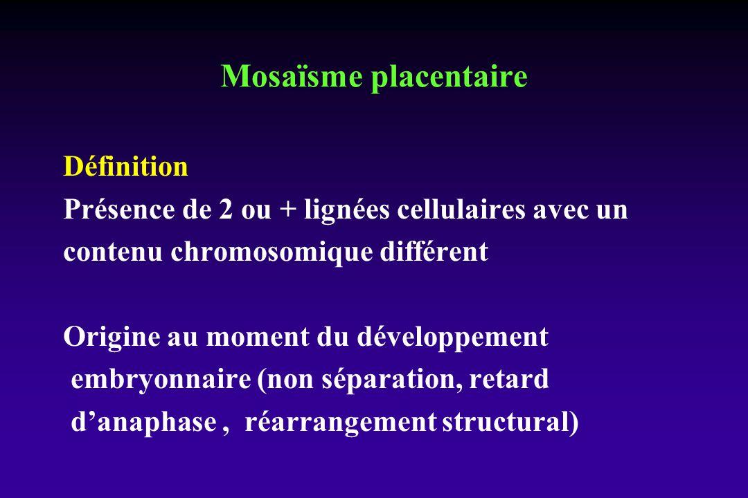 Mosaïsme placentaire Définition Présence de 2 ou + lignées cellulaires avec un contenu chromosomique différent Origine au moment du développement embryonnaire (non séparation, retard danaphase, réarrangement structural)