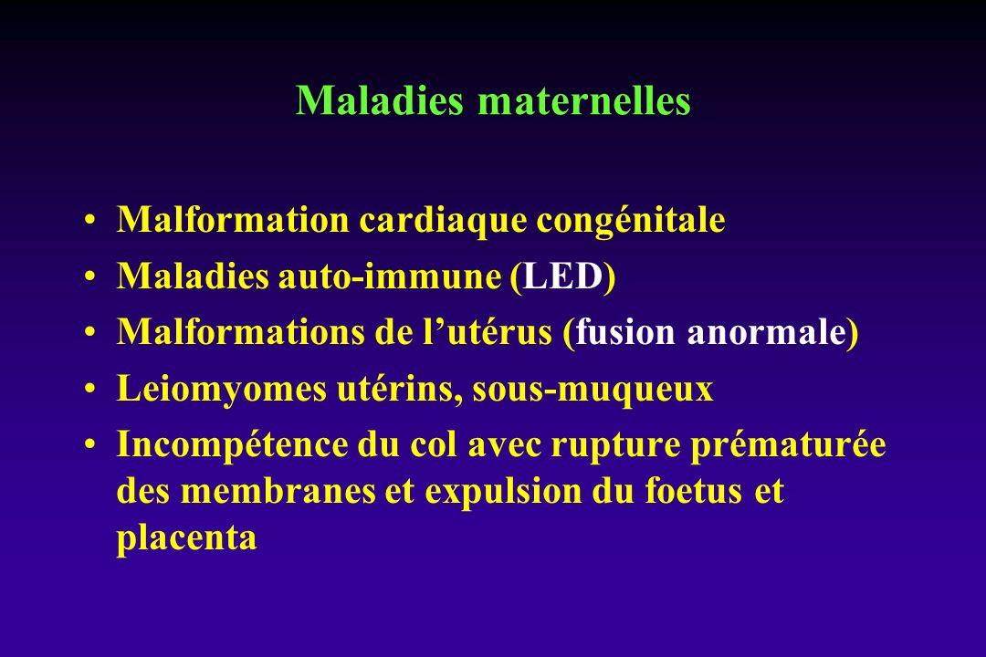 Malformation cardiaque congénitale Maladies auto-immune (LED) Malformations de lutérus (fusion anormale) Leiomyomes utérins, sous-muqueux Incompétence du col avec rupture prématurée des membranes et expulsion du foetus et placenta Maladies maternelles