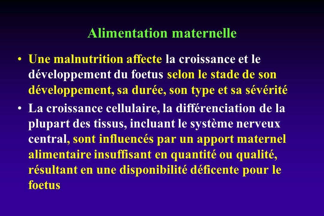 Alimentation maternelle Une malnutrition affecte la croissance et le développement du foetus selon le stade de son développement, sa durée, son type et sa sévérité La croissance cellulaire, la différenciation de la plupart des tissus, incluant le système nerveux central, sont influencés par un apport maternel alimentaire insuffisant en quantité ou qualité, résultant en une disponibilité déficente pour le foetus
