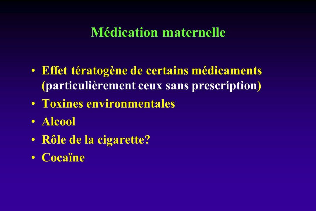 Effet tératogène de certains médicaments (particulièrement ceux sans prescription) Toxines environmentales Alcool Rôle de la cigarette? Cocaïne Médica