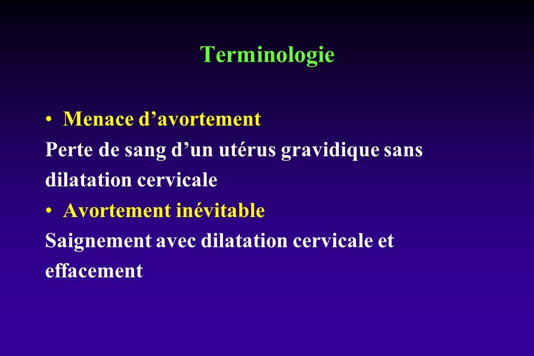Menace davortement Perte de sang dun utérus gravidique sans dilatation cervicale Avortement inévitable Saignement avec dilatation cervicale et effacement Terminologie